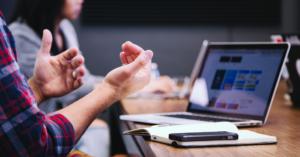 office meeting laptop hands